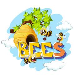 Bees flying around beehive vector