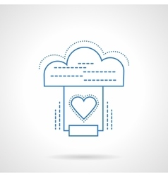 Cloud services blue flat line icon vector image vector image