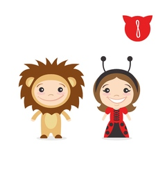 two happy cute kids characters Boy in lion costume vector image vector image