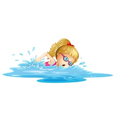 A young girl swimming vector image