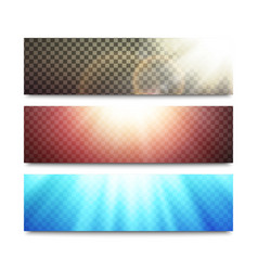 banners set with transparent light effects vector image vector image