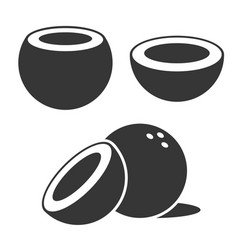 coconut icons set on white background vector image vector image