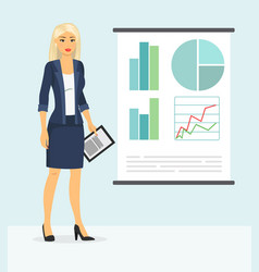 cute businesswoman showing something vector image vector image