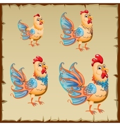 Cute yellow rooster with big blue tail vector image
