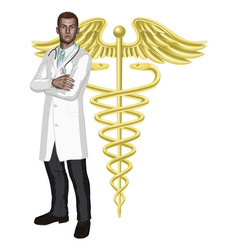 doctor and caduceus symbol vector image