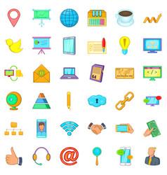 Finance company icons set cartoon style vector