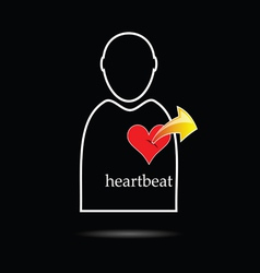 man icon with heartbeat vector image vector image
