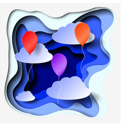 3d abstract paper cut illlustration of clouds and vector