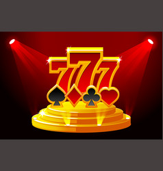 777 and playing card symbols on stage podium vector