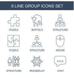 9 group icons vector image