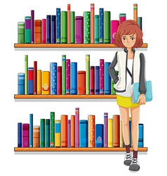 A lady holding a book standing in front of the vector image