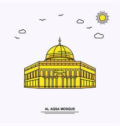 Al aqsa mosque monument poster template world vector