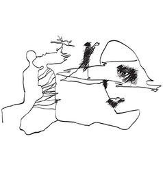 Art of Line Art - Friends vector image