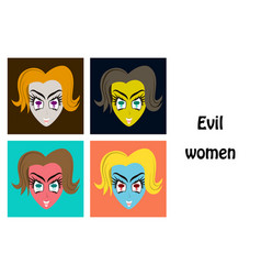 Assembly of flat icons on theme evil women vector