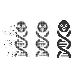 Baby genes dissolved pixel halftone icon vector