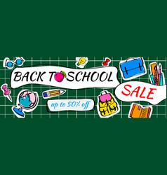 back to school sale doodles horizontal background vector image