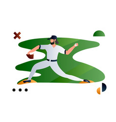 baseball player pitcher throwing ball creative vector image