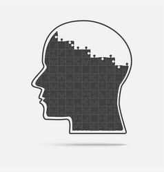 black puzzle piece silhouette head - brain vector image