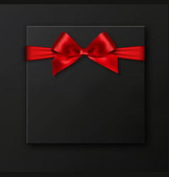 Blank black gift box with red ribbon isolated on vector