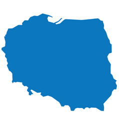 blank blue similar poland map isolated on white ba vector image