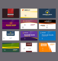 business visit cards colored office corporate or vector image