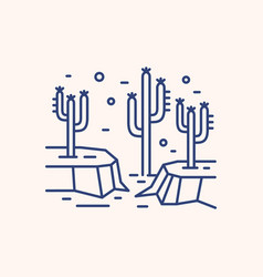 Cactus in dry desert landscape outline vector