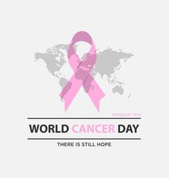 Cancer day concept with world map background vector