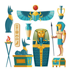 Cartoon egyptian set - pharaoh sarcophagus vector