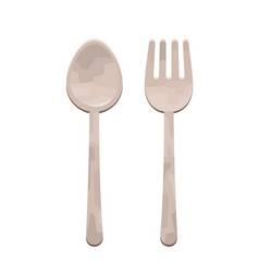 cartoon fork and spoon vector image