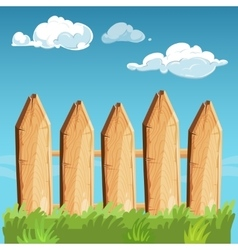 Cartoon rural wooden fence blue sky vector