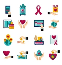 Charity donation flat icons set vector image