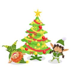 christmas card with fir-tree and elves vector image