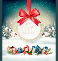 Christmas holiday background with a gift card and vector