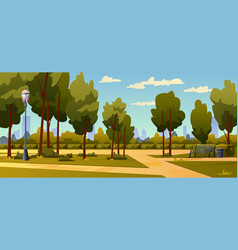 city park landscape green trees grass panorama vector image