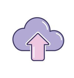 cloud data digital technology server vector image vector image