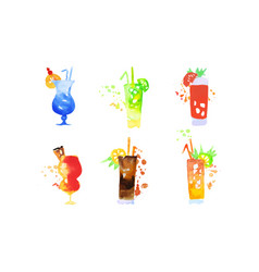 cocktails collection colorful summer alcoholic vector image