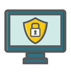 Computer security colorful line icon protection vector