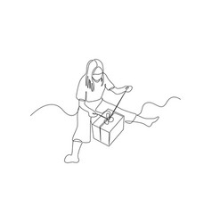 continuous one line woman on floor opens a vector image