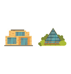 cottage and assorted real estate building icons vector image