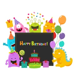 Cute Birthday Monsters Card vector