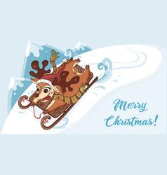 deer on sleigh on sleigh winter scene vector image
