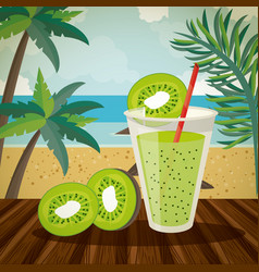 Delicious and refreshment drink on beach vector