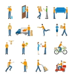 Delivery Courier People Icons Set vector