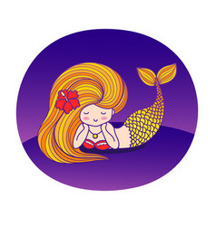 Dreamy lying cartoon mermaid with wavy golden hair vector
