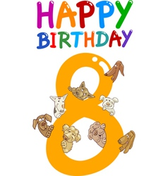 eighth birthday anniversary card vector image