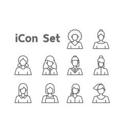 Female icon set for user interface design various vector