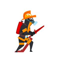 Fireman in a protective mask with fire hose vector