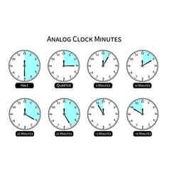 flat analog clock with shape in half quarter and vector image