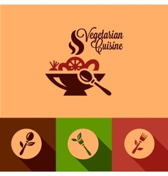 flat vegetarian cuisine icons set vector image