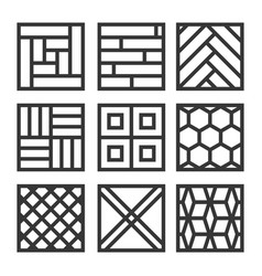 Floor material icons tile and parquet line set vector